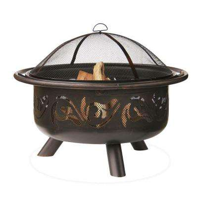 36 in. Diameter Bronze Finish Iron Construction Wood Burning Fire Pit with Swirl Design