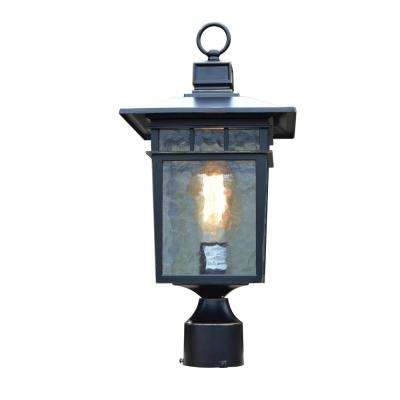 Cullen 1-Light Imperial Black Outdoor Wall Mount Post Lantern