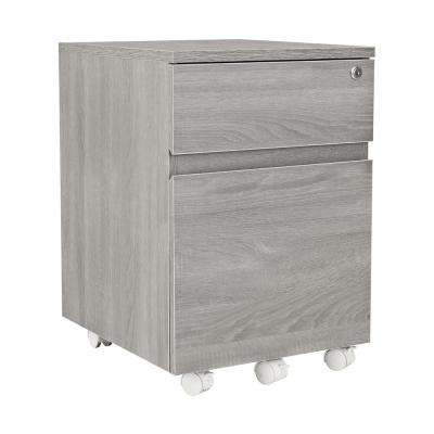 Grey Rolling 2-Drawer Vertical Filing Cabinet with Lock
