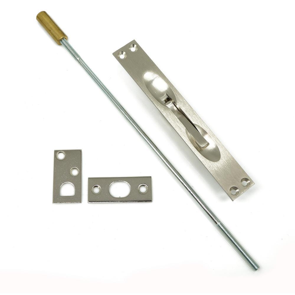 Solid Brass Extension Flush Bolt in Satin Nickel