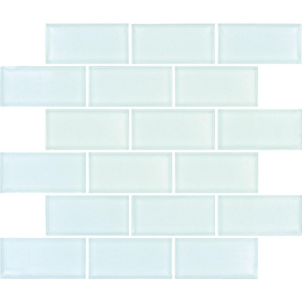 Arctic Ice Subway 12 In X 8 Mm Gl Mesh Mounted Mosaic Tile Glsst Ai8mm The Home Depot