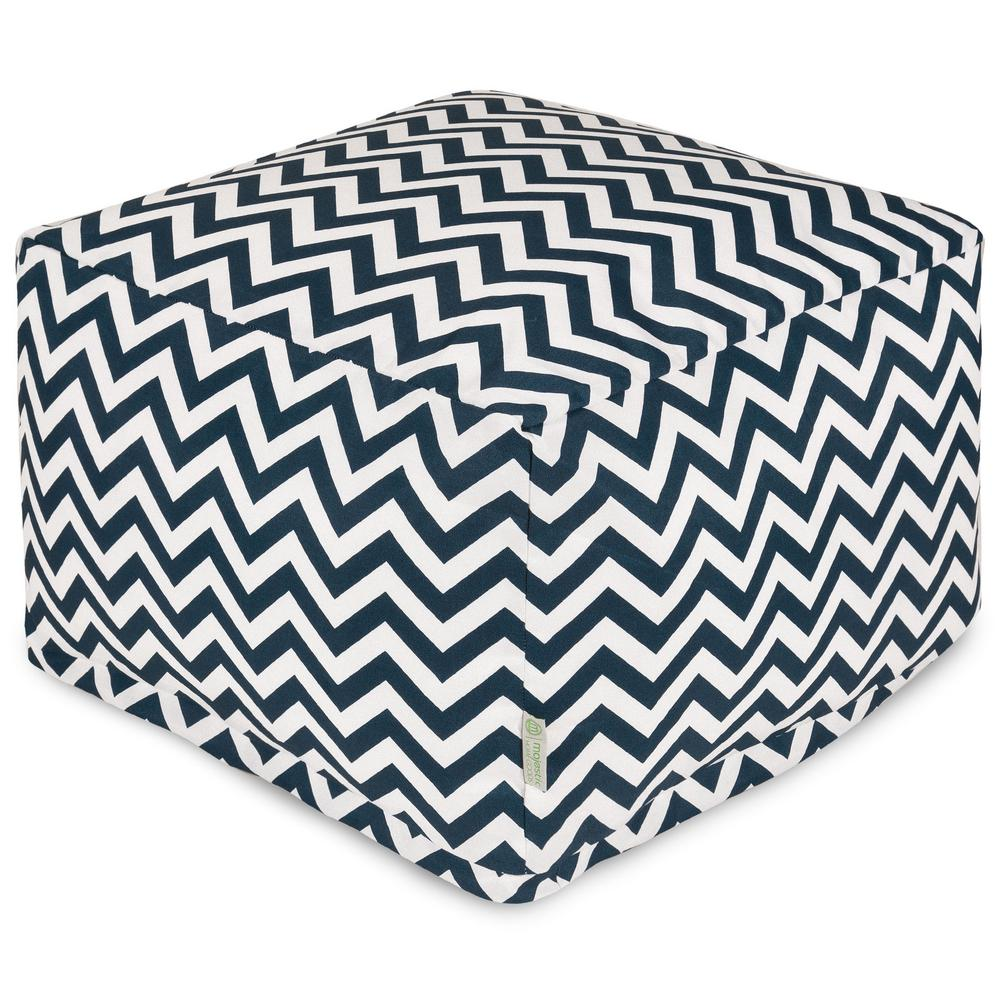Majestic Home Goods Navy Chevron Indoor/Outdoor Ottoman Cushion