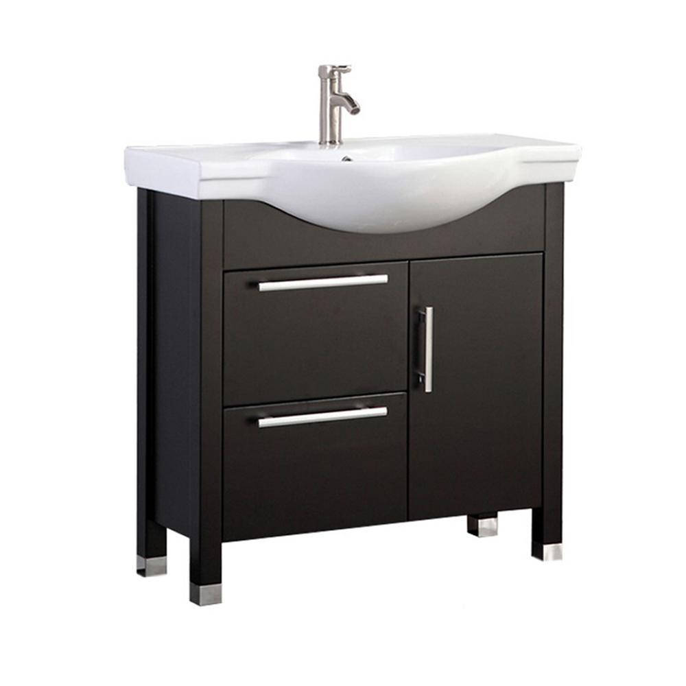 Pau 36 in. W x 18 in. D x 36 in. H Bath Vanity in Espresso with Ceramic Vanity Top in White with White Basin