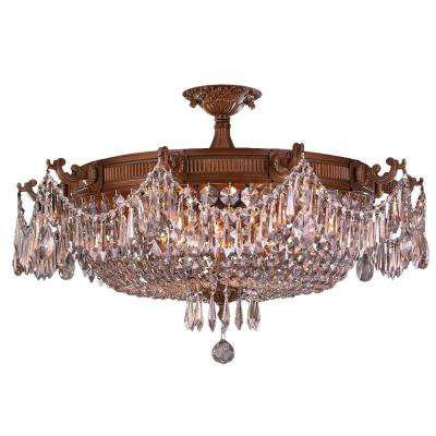 Winchester Collection 10-Light French Gold and Clear Crystal Semi Flush Mount