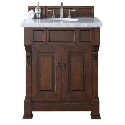 Brookfield 36 in. W Single Vanity in Warm Cherry with Marble Vanity Top in Carrara White with White Basin