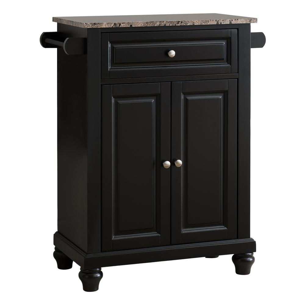 Kings Brand Furniture Black With Marble Finish Top Storage