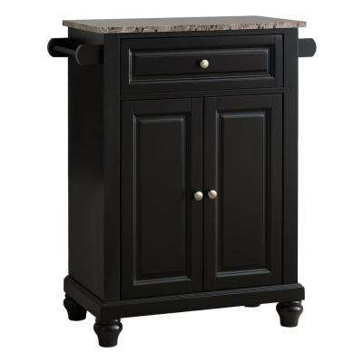 Black with Marble Finish Top Storage Kitchen Island with 2 Towel Bars