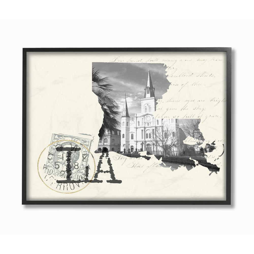 Louisiana black and white photograph on cream paper postcard by daphne polselli framed wall art