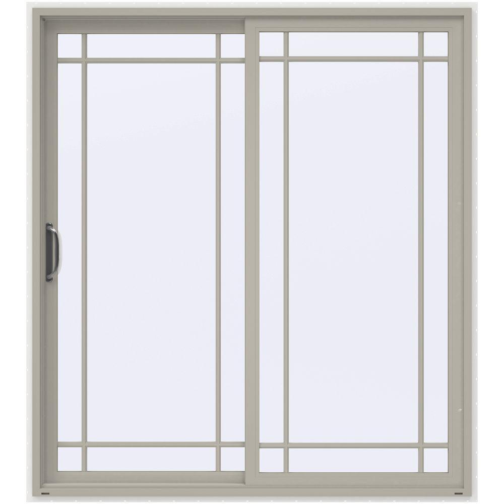 Jeld wen 72 in x 80 in v 2500 series vinyl sliding patio for Prehung sliding glass doors