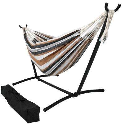 10.5 ft. Fabric Cotton Double Brazilian Hammock with Stand Combo in Calming Desert