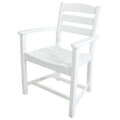 La Casa Cafe White All-Weather Plastic Outdoor Dining Arm Chair