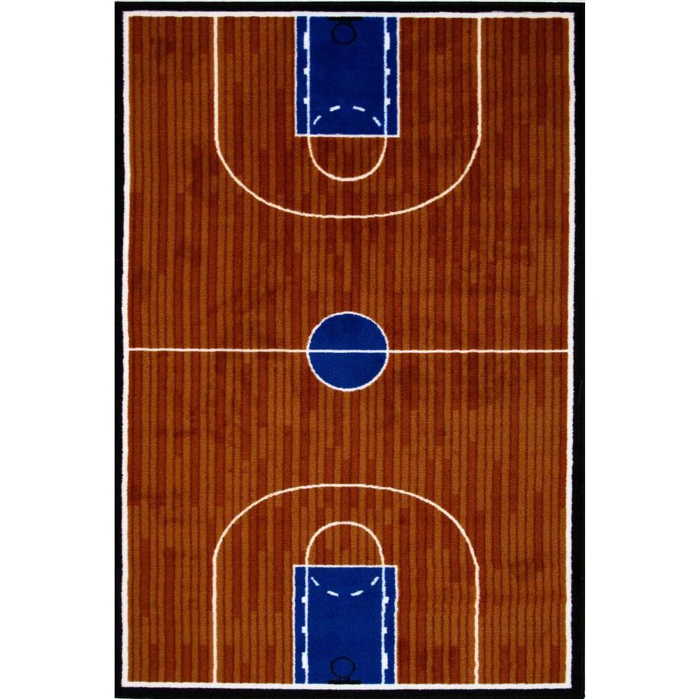 LA Rug Fun Time Basketball Court Multi Colored 2 Ft. X 2