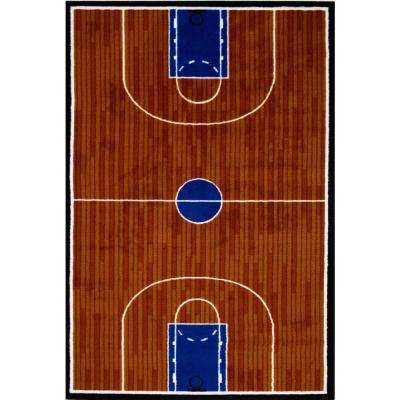 Fun Time Basketball Court Multi Colored 19 in. x 29 in. Area Rug