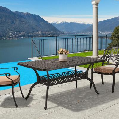 Classic Dark Brown Rectangle Cast Aluminum Outdoor Dining Table