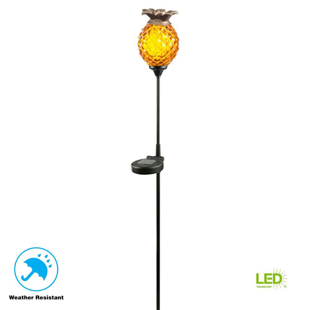 Hampton Bay Solar Orange Outdoor Integrated Led Landscape Path Light With Gl Pinele