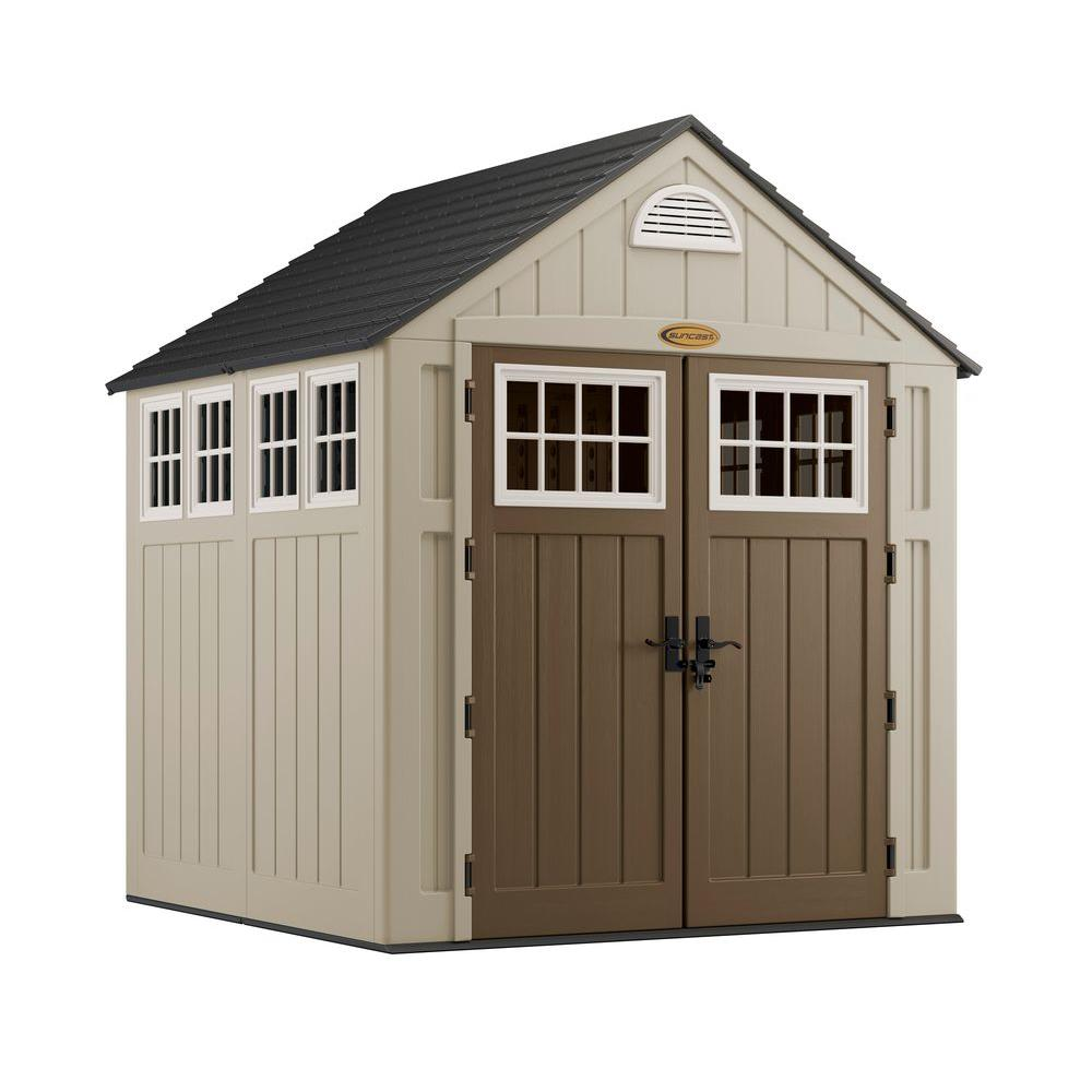 Suncast alpine 7 ft 2 in x 7 ft 6 in resin storage for 2 storage house