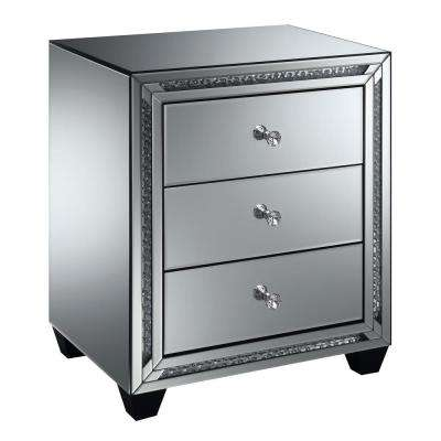 Carson Silver Mirrored 3-Drawer Side Table