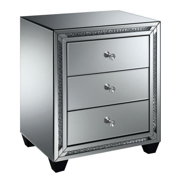 Furniture of America Carson Silver Mirrored 3-Drawer Side Table IDF-533ST-3DR
