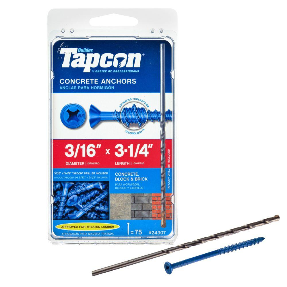 Tapcon 3/16 in. x 3-1/4 in. Phillips-Flat-Head Concrete Anchors (75-Pack)