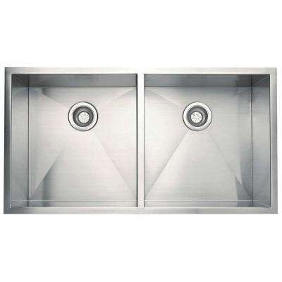 All-in-one Undermount Stainless Steel 17.in 0-Hole Double Bowl Kitchen Sink in Satin