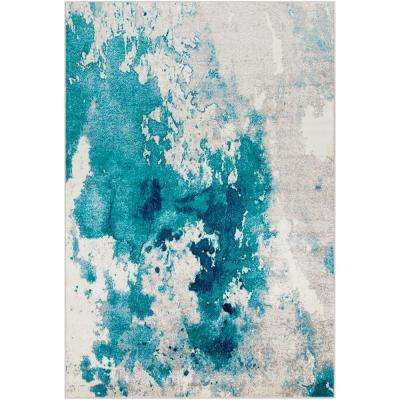 Sora Teal 6 ft. 7 in. x 9 ft. 6 in. Abstract Area Rug