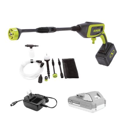 24-Volt 350 PSI 0.6 GPM Cold Water Electric Pressure Washer with 2.0 Ah Battery and Charger Plus Accessory Kit (6-Piece)