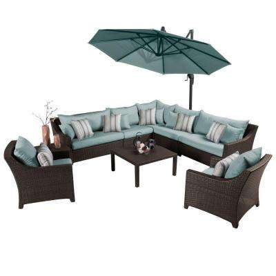 Deco 9 Piece All Weather Patio Sectional Set With 10 Ft. Umbrella And