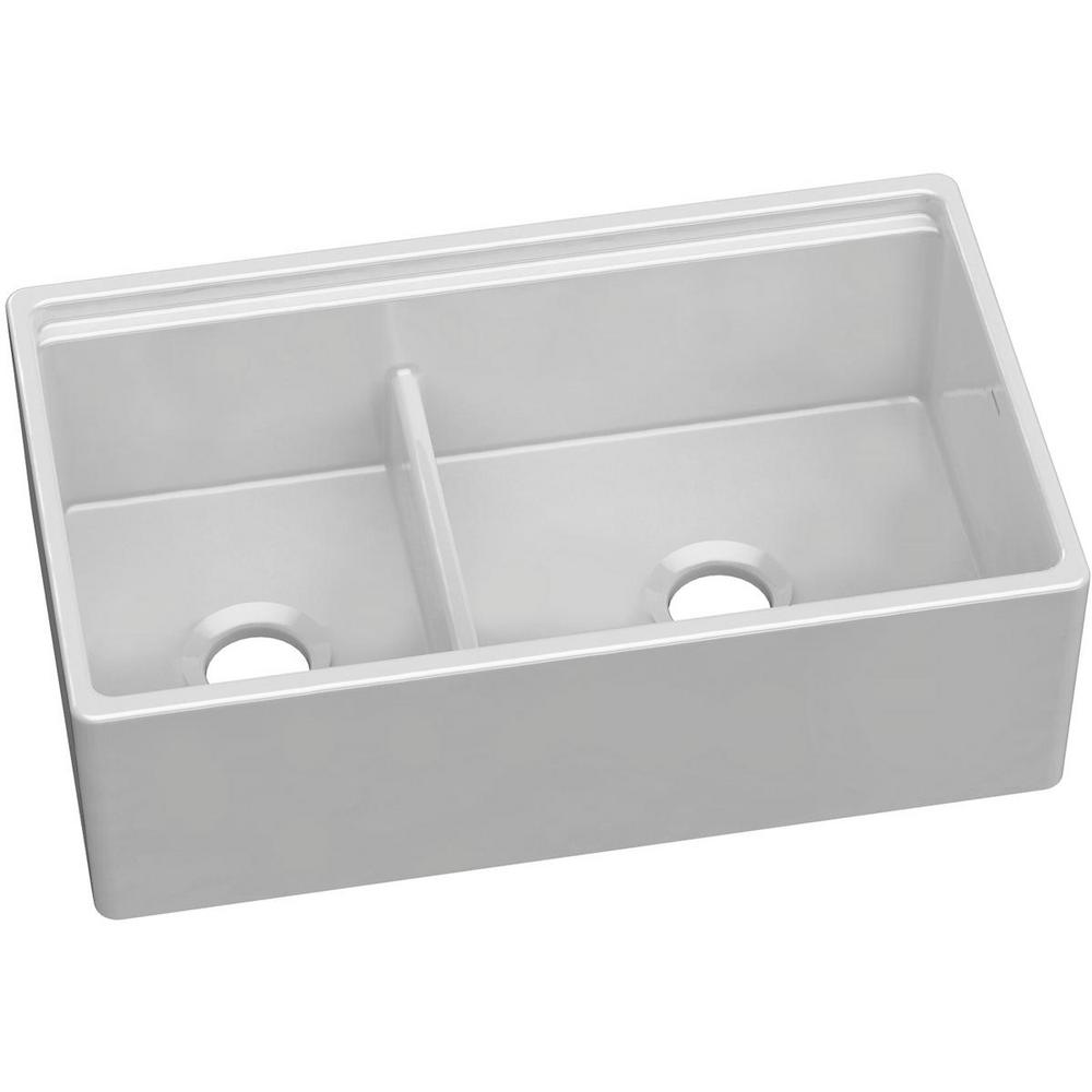 Elkay Farmhouse Apron Front Fireclay 33 In. Double Bowl Kitchen Sink In  White With Aqua