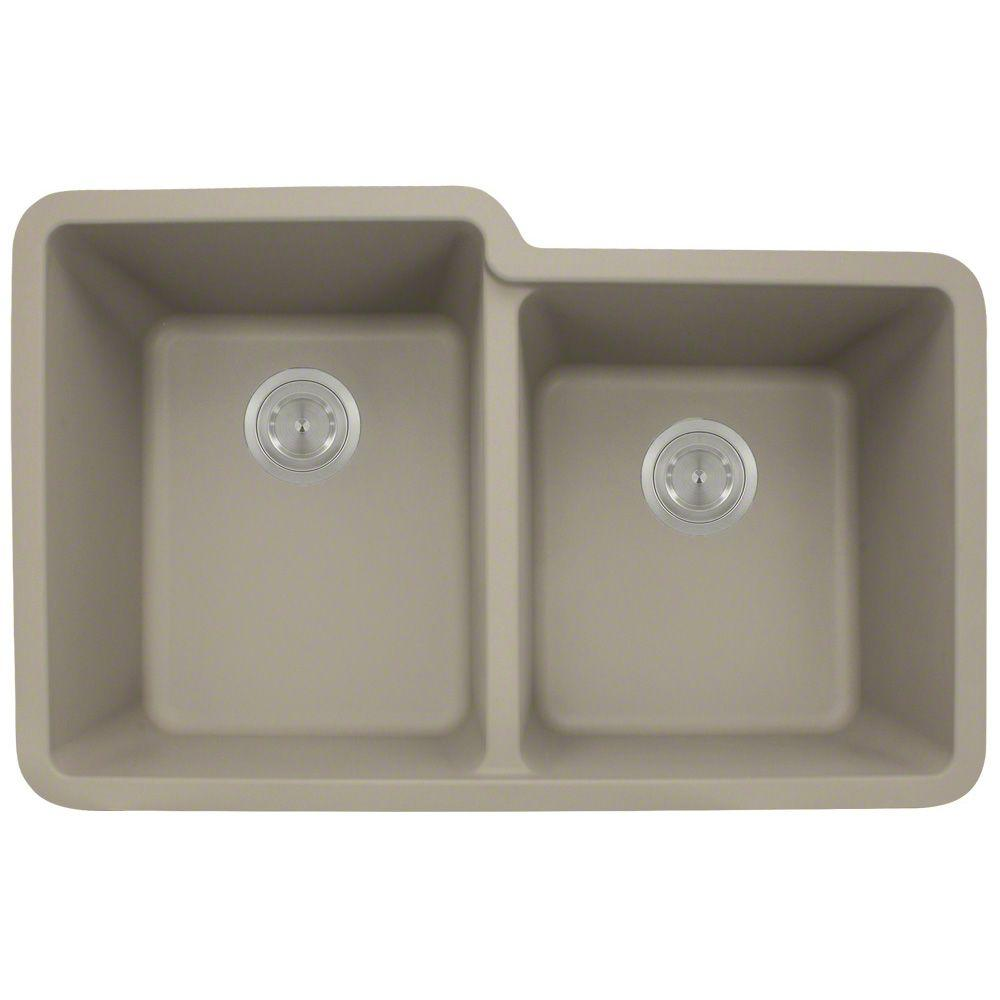 Polaris Undermount Composite 33 in. Double Bowl Kitchen S...