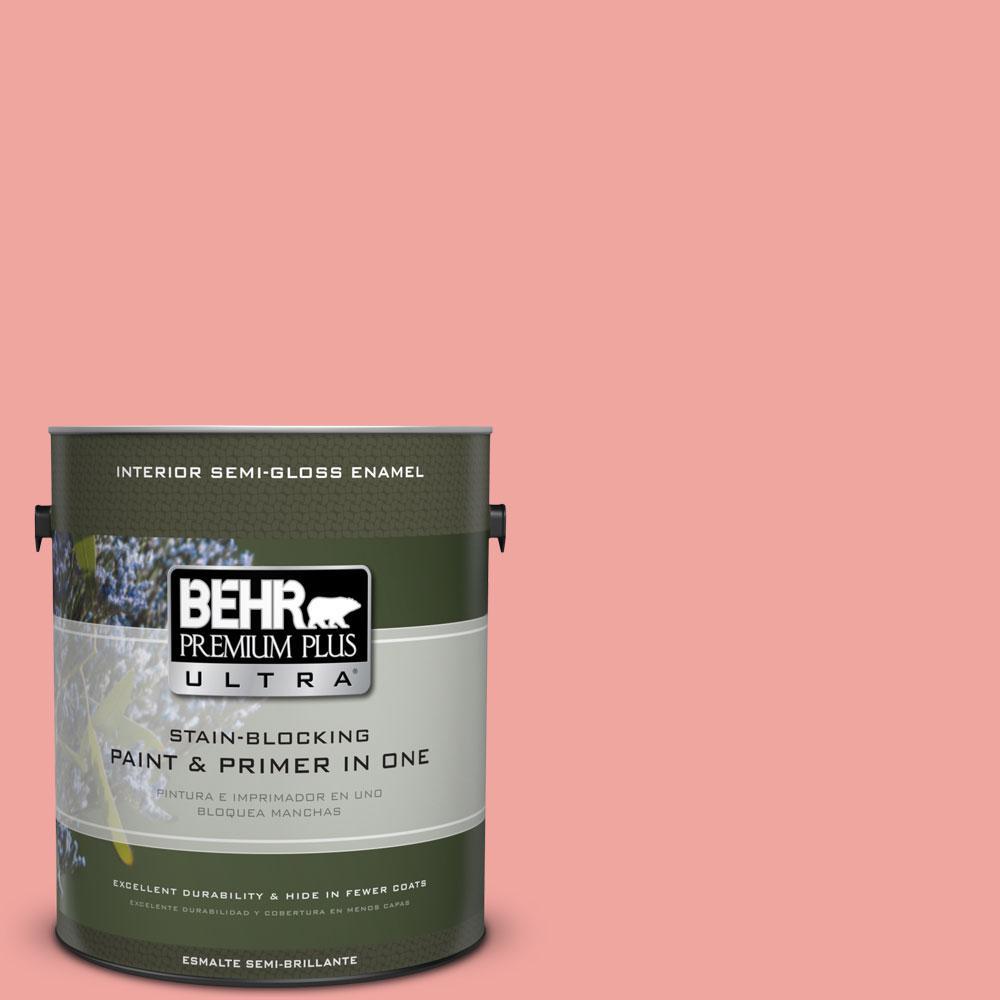 BEHR Premium Plus Ultra 1-gal. #160B-4 Modestly Peach Semi-Gloss Enamel Interior Paint