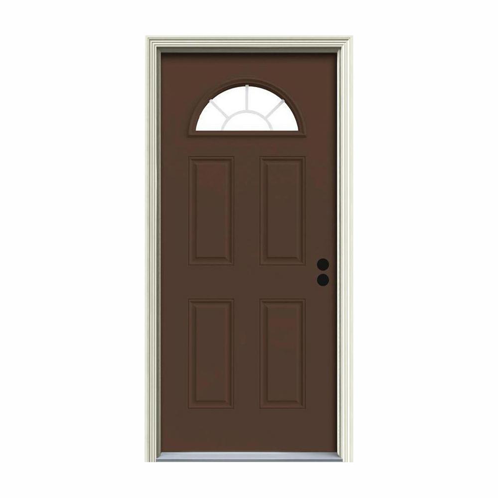 JELD-WEN 36 in. x 80 in. Fan Lite Dark Chocolate Painted Steel Prehung Left-Hand Inswing Front Door w/Brickmould