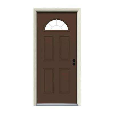 36 in. x 80 in. Fan Lite Dark Chocolate Painted Steel Prehung Left-Hand Inswing Front Door w/Brickmould