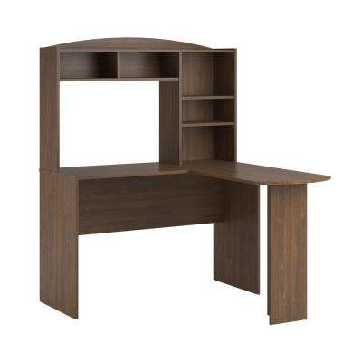 Gullberry 1-Piece Walnut Desk with Hutch