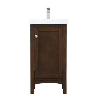 Timeless Home 17.5 in. W x 13.63 in. D x 34.25 in. H Single Bathroom Vanity in Antique Coffee with White Ceramic Top