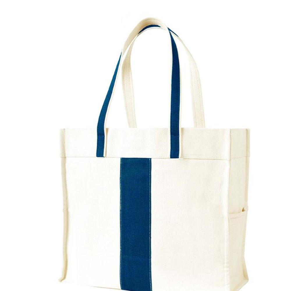 Home Decorators Collection Center Stripe Navy Canvas Tote