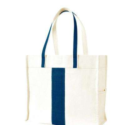 Center Stripe Navy Canvas Tote