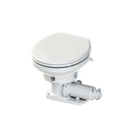 Sanimarin Maxlite 1-Piece Dual Flush 24-Volt Round Bowl Macerating Toilet System in White for Boat or RV