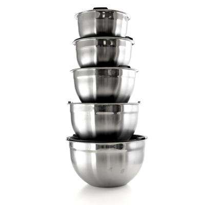 5-Piece Stainless Steel Silver Mixing Bowl Set with Lids