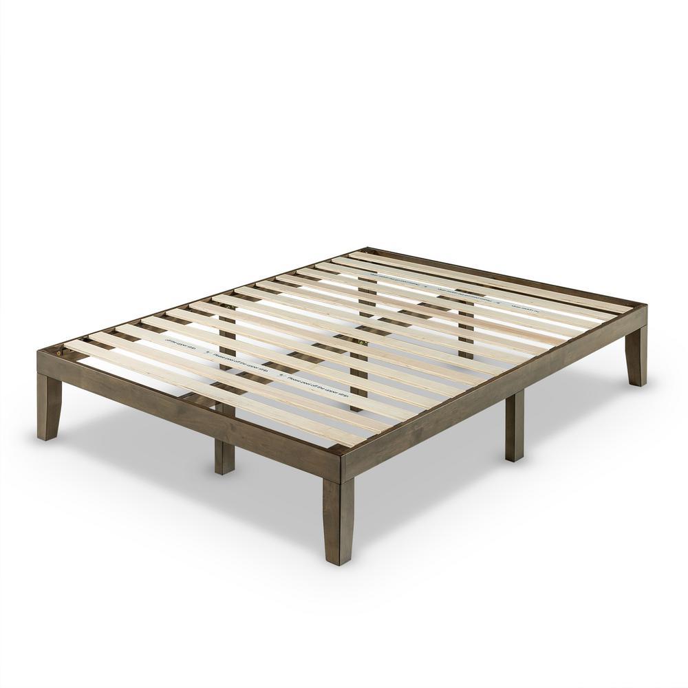14 in. King Wood Platform Bed Walnut