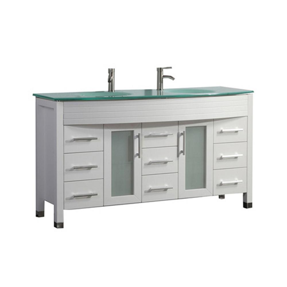 MTD Vanities Fort 63 in. W x 22 in. D x 36 in. H Double Bath Vanity in White with Tempered Glass Vanity Top with Glass Basin