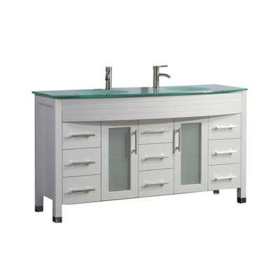 Fort 63 in. W x 22 in. D x 36 in. H Vanity in White with Glass Vanity Top in Glass with Glass Basin