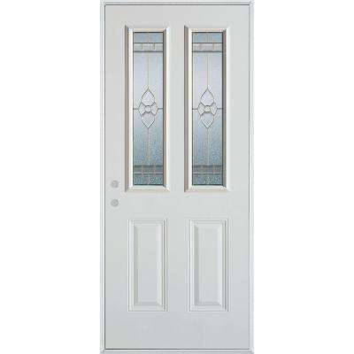 37.375 in. x 82.375 in. Traditional Brass 2 Lite 2-Panel Prefinished White Right-Hand Inswing Steel Prehung Front Door