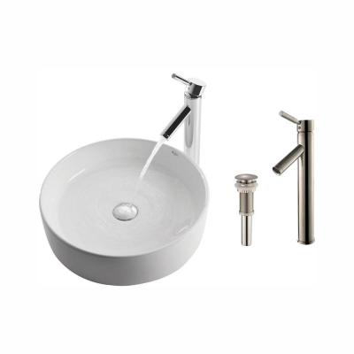 Round Ceramic Vessel Sink in White with Sheven Faucet in Satin Nickel