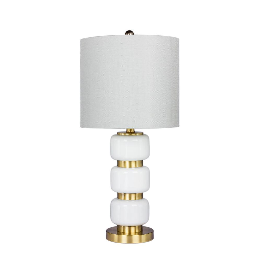26 in. Smooth, Stacked Glass and Metal Table Lamp in a