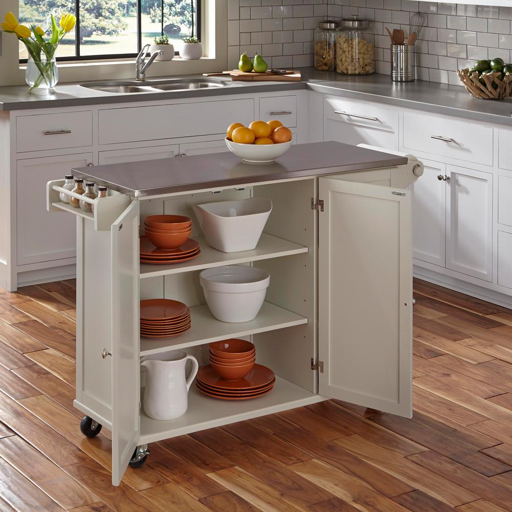 Home Styles Liberty White Kitchen Cart 4512 95 The Home Depot