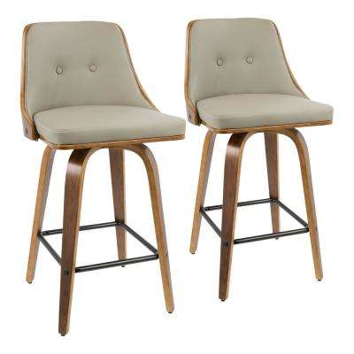 Gianna 26 in. Walnut and Light Grey Faux Leather Counter Stool (Set of 2)