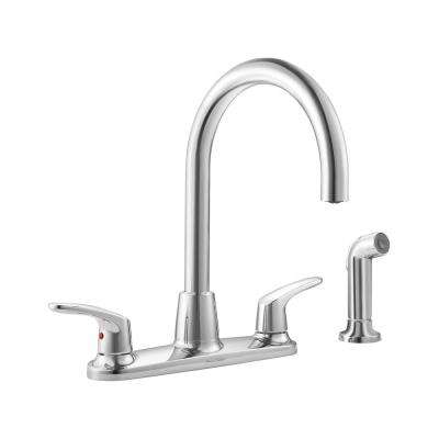 Colony Pro 2-Handle Standard Kitchen Faucet with Side Sprayer in Polished Chrome