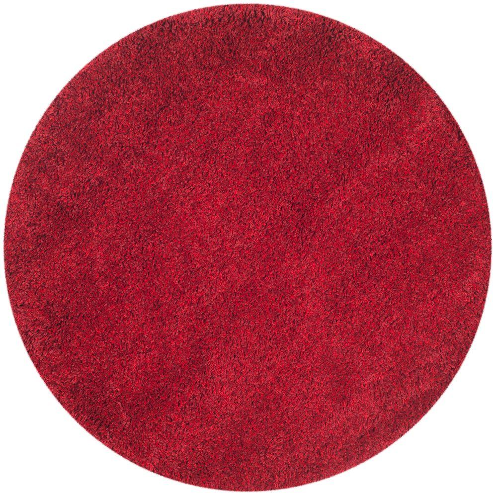 Safavieh Himalaya Turquoise 4 Ft X 4 Ft Round Area Rug: Safavieh California Shag Red 4 Ft. X 4 Ft. Round Area Rug