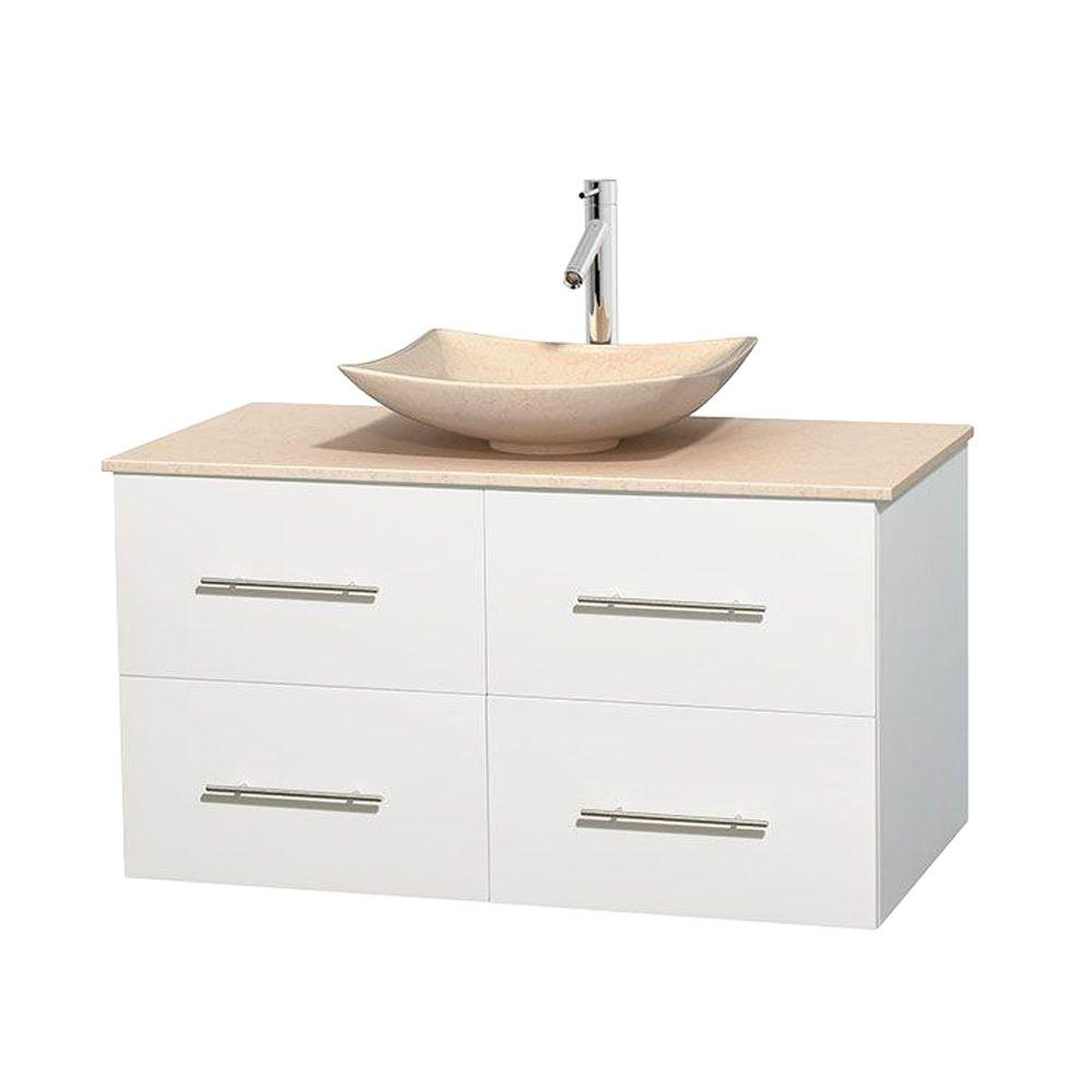 Wyndham Collection Centra 42 in. Vanity in White with Marble Vanity Top in Ivory and Sink