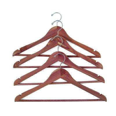 Coat Hanger with Fixed Bar in Red Cedar (4-Pack)